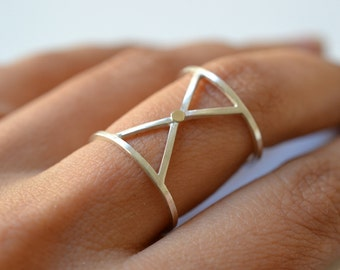 X -silver and solid gold geometric ring
