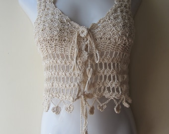 CROCHET VEST, Crochet vest top, Crochet halter top, Crochet vest,  festival clothing, beach wear, gypsy, bohemian princess