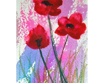 ACEO Poppies Happy Art Flowers Original Watercolor Painting The Sky Tiny Flower Art by Mary Hamilton Poppy Flowers, Optional Mini Easel