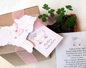 10 Plantable Lamb Baptism Favors with Plantable Pots Kit - Flower Seed Paper