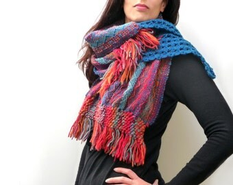 Handwoven and Crochet Shawl Scarf - Red Orange Blue Multicolor Wool Stole with Blue Crochet Lace and Wood Brooch Button - MADE TO ORDER