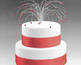 Wedding Cake Topper Silver with Siam Dark Crimson Red Swarovski Crystal Elements Fireworks Spray Birthday Cake Topper Decor Decoration