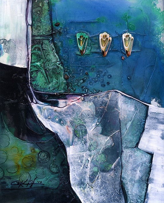 A Tranquil Journey .. Original Contemporary Mixed Media art painting by Kathy Morton Stanion EBSQ