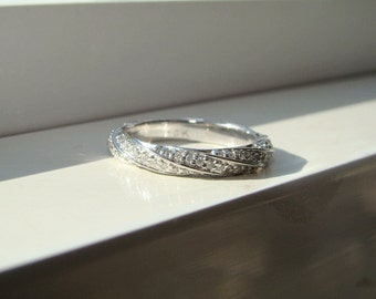 Twist Rope Band Diamond Pave Engagement Ring Matching Band Set Custom 14k White Gold