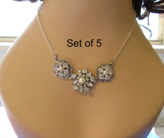 Set of 5, Bridesmaids necklace, bridesmaid jewelry, crystal necklace, Pearl necklace, statement necklace, clear crystal, silver pearl