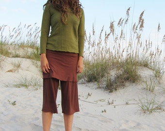ORGANIC Simplicity Mini Skirted Gauchos - ( light hemp/organic cotton knit ) - organic HEMP gauchos