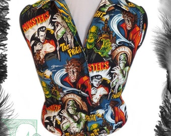 Movie Monsters Sleeveless 1950s Style Tie Shirt, Made to measure.
