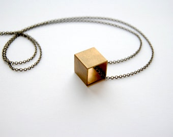 SALE - Large Cube Necklace - FREE US Shipping