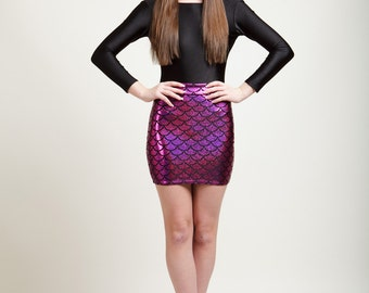 SALE Polynesian Pink Mermaid Bodycon Mini-Skirt, Metallic Holographic and Super Sparkly