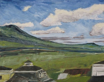 """Art Plein Air Landscape Oil Painting Original Appalachian Mountain Sky Mont Megantic National Park Quebec """"Above Notre Dame Des Bois Canada"""