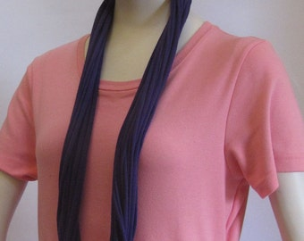 Dark Blue Jersey Infinity Scarf Handmade by Fashion Green T Bags