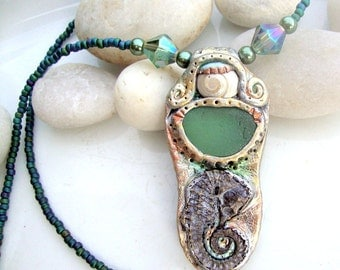Seahorse, Shell, and Seaglass Polymer Clay Beaded Necklace
