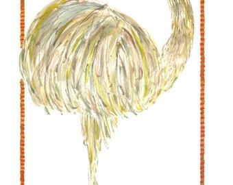 Bird, Bird Art, Rhea Bird, Endangered, Great American Rhea Bird, Original, Watercolor Portrait