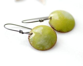 Enameled Copper Earrings, Green Earrings, Geometric Earrings, Bitter Green Earrings, Rustic Earrings, Copper, Silver, Dangle Drop Earrings