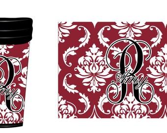 Damask Monogram Coffee Tumbler