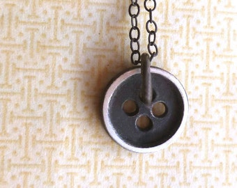 Button Necklace - Tiny - Black - Oxidized - Sterling Silver - Cottage Chic - Rustic - Sewing Inspired - Button Charm - Charm Necklace