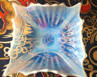 Fostoria Opalescent White Art Glass Dish Bowl Ashtray