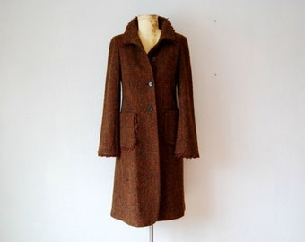 vintage DONNA KAREN wool coat  /  tweed HARVEST midi length coat
