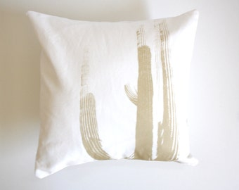 LAST CHANCE SALE - Desert Cactus Throw Pillow - Black and White Modern Southwest Pillow - Saguaro Cactus Pillow