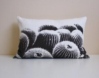 Barrel Cactus Pillow   / Desert Modern Decor / Black and White Southwest Pillow / Lumbar Cactus Pillow