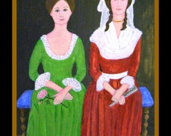 Letitia and Harriet - Original Naive Faux Colonial Folk Portrait 9.5 x 13 inches by Fran Caldwell