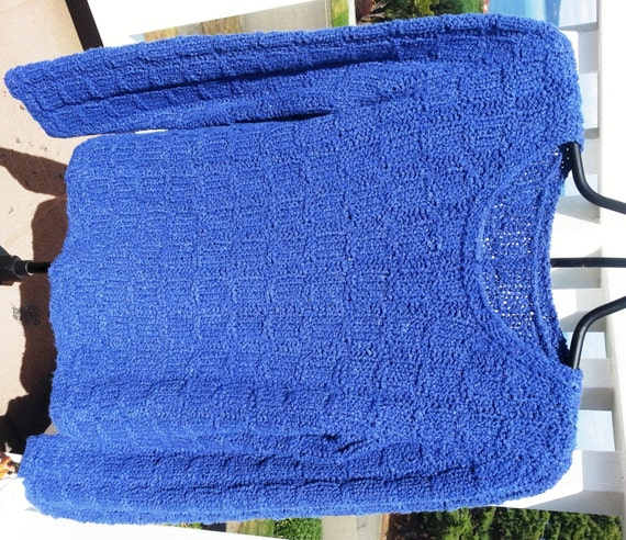 Hand Knit Blue Crew Sweater with Crew Neck for Women and Teens