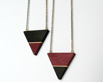 Ebony and purpleheart Triangle - ebony, maple and purpleheart necklace with antique brass chain