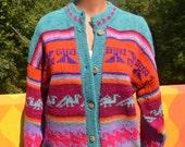 vintage 70s sweater COWICHAN cardigan hippie boho handknit ethnic ski rainbow Medium unisex native