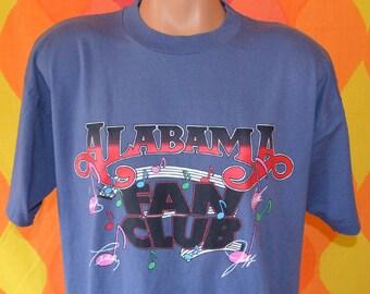 vintage 80s t-shirt ALABAMA fan club country music concert autograph tee Large XL souvenir