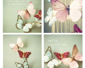Girls room or baby girl nursery butterfly photos - Set of 4 photos - butterfly photos, butterfly decor, typography, whimsical, pastel, pink