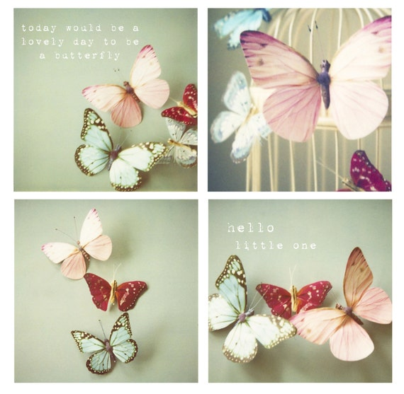 Set of 4 butterfly photos, Girls wall art, baby girl nursery wall art, butterfly decor, typography wall art, whimsical, pastel, pink