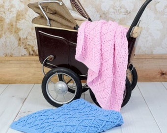 CROCHET PATTERN For  Cabled Blanket Afghan Crib Pram Cot PDF 253 Digital Download