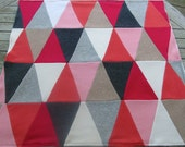 Modern Baby Blanket, Cashmere Triangle Patchwork Quilt - Made to Order - upcycled cashmere sweaters
