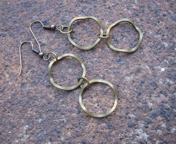 Wrinkle in Time Dangle Earrings - Vintage Wavy Hoop Brass Beads with Nice Patina (Eco-Friendly)