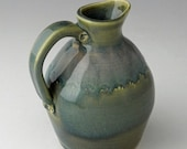 Round Pottery Pitcher in Celadon Blue-green