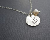 Cursive initial necklace, silver initial, personalized bridesmaid necklace, bridesmaid gift, mothers necklace, freshwater pearl necklace