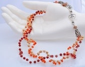 Crocheted Fine Silver Necklace - Autumn Orange - Pearls, Carnelian