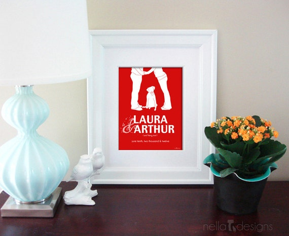 Personalized Wedding Gift, Name Print, Couples Silhouette, Dog Silhouette, Bridal Shower Gift