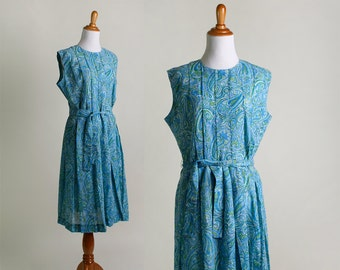 Vintage 1950s Dress - Paisley Blue and Mint Green Floral Cotton Dress - Large XL