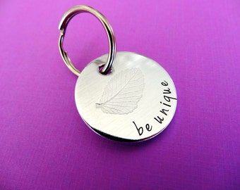 Personalized Keychain - (Leaf imprint) Be Unique - Hand stamped Circle Key Chain Accessory