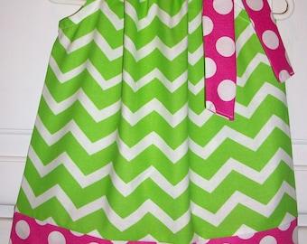 Pillowcase Dress Chevron Dress  Lime and Hot Pink Dots Cherry Limeade baby dress toddler dress girls dress Party Dress Summer dress
