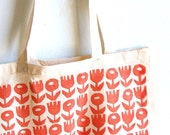 Red Retro flowers hand stamped cotton canvas tote bag