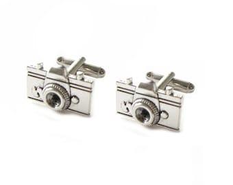 Camera Cufflinks, Photography Antiqued silver Cuff links, Wedding father Gift, Birthday anniversary
