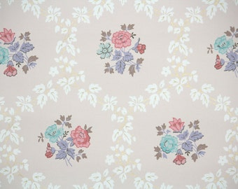 1950s Vintage Wallpaper by the Yard - Floral Vintage Wallpaper with Blue and Pink Flowers