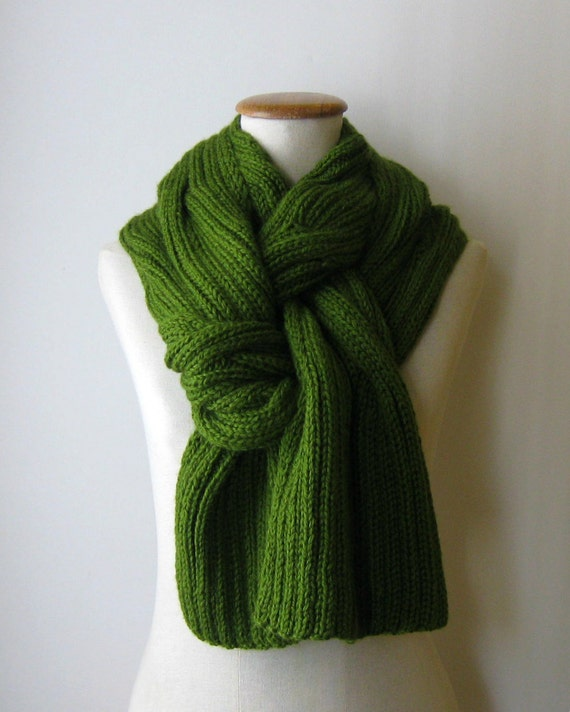 Green Cables Scarf Knitted- RESERVED for Giannabio