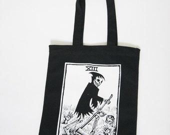 La Mort Death Tarot Black Canvas Tote, Tarot Card Tote Bag, Death Tarot Punk Tote