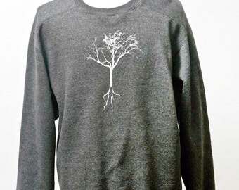 Men's Sweatshirt / Upcycled Comfy Shirt with Screen Printed Tree / Size XL
