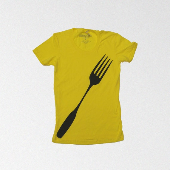 SALE Yellow Fork T-shirt,  gift for women, back to school shirt, foodie gift funny t-shirt womens, american apparel, chef, clothes