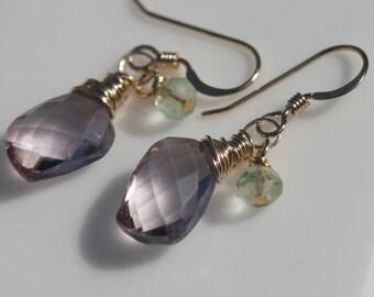 Small Pink Earrings, Petite Dangle Earrings, Gold Earrings, Pink Earrings, Green Quartz Earrings, Small Drop Earrings Maggie McMane Design