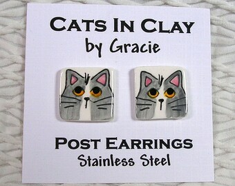 Grey & White Cat Post Earrings Handmade In Clay